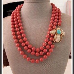 Stella and Dot La Coco Coral Bead Necklace Bee